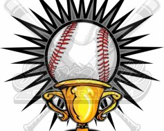 Baseball Champions Vector Clipart Image of a Baseball Ball in a Trophy
